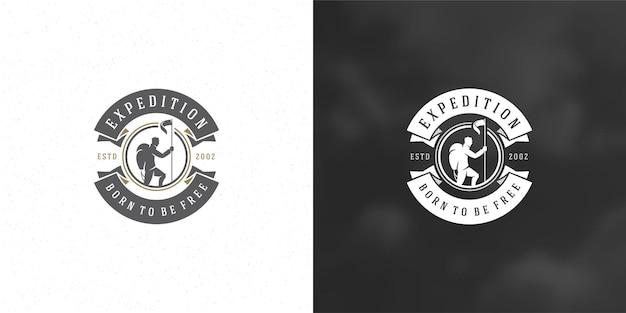 Альпинист логотип эмблема приключенческая экспедиция на открытом воздухе
