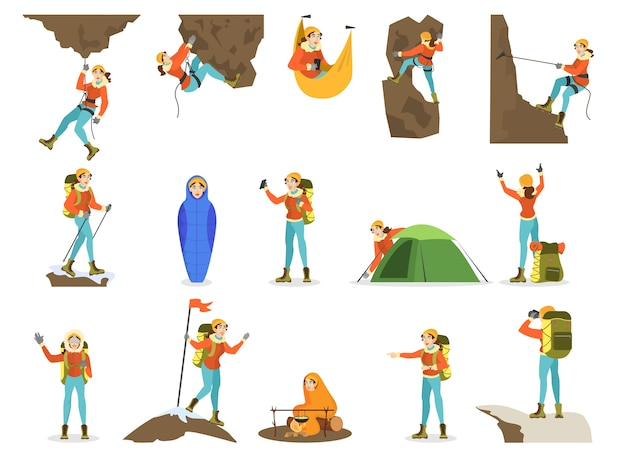 Climber set. woman mountaineering with a special equipment