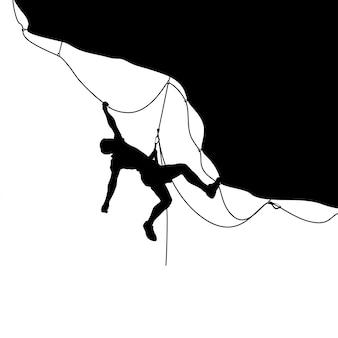 Изображение силуэта альпиниста