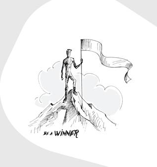 山の頂上を征服する旗と登山者手描きのベクトルの背景