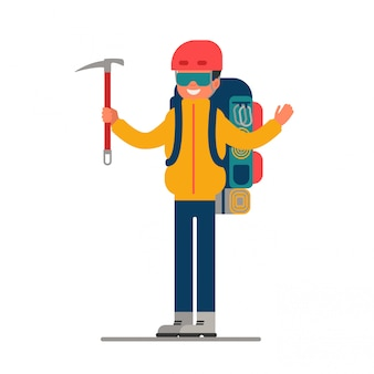 Climber with ice axe in hand and backpack