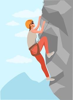 등산가 산 암벽 등반가 건강한 활동적인 라이프 스타일 활동 보호 헬멧을 쓴 젊은 남성 산악인 암벽 등반 세트