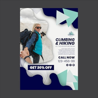 登山とハイキングのポスター印刷テンプレート