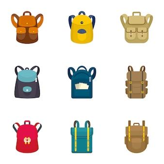 Набор иконок рюкзак восхождение, плоский стиль