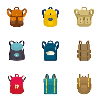 Climbing backpack icon set, flat style
