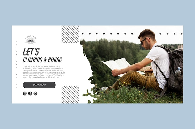 Climbing banner template with photo