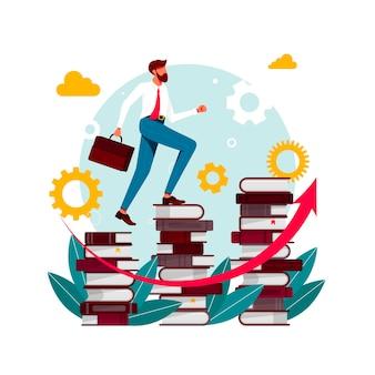 Книги для скалолазания. человек в библиотеке идет наверх. книги по скалолазанию. успех в бизнесе, уровень образования, персонал и концепция вектора развития навыков. бизнесмен идет вверх по лестнице из книг.