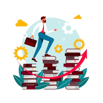 Climbing books.person in library going top. people climbing books. business success, education level, staff and skill development vector concept. businessman going up the stairs which made from books.