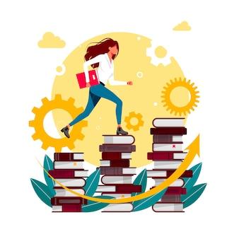 Книги для скалолазания. женщина в библиотеке идет наверх. книги по скалолазанию. успех в бизнесе, уровень образования, персонал и концепция вектора развития навыков. бизнесмен, поднимающийся по лестнице из книг