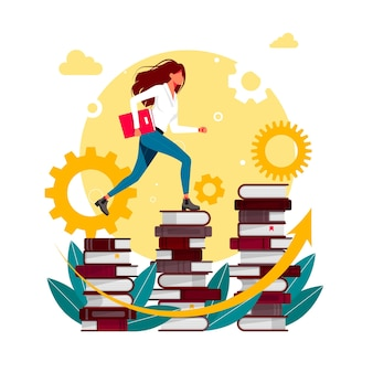 Climbing books. woman in library going top. people climbing books. business success, education level, staff and skill development vector concept. businessman going up the stairs which made from books