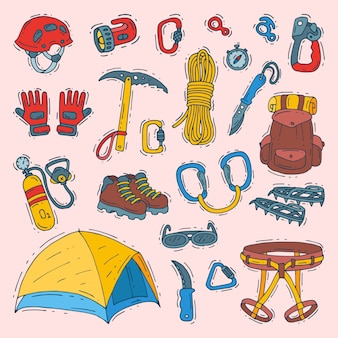 Climbing  climbers equipment helmet carabiner and axe to climb in mountains illustration sot of mountaineering or alpinism tools for mountaineers isolated