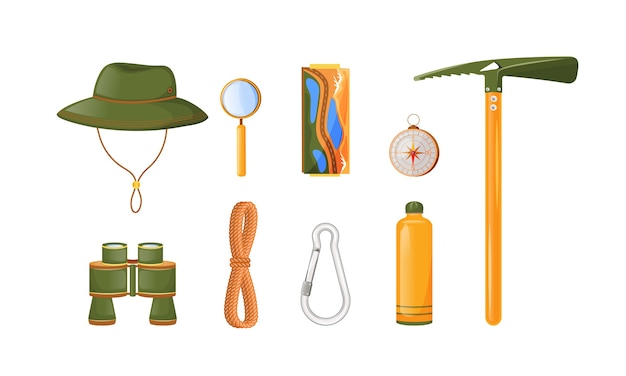Climbing equipment flat color objects set. trekking, hiking and climbing gear. binocular. ice axe. expedition. alpinist essentials 2d isolated cartoon