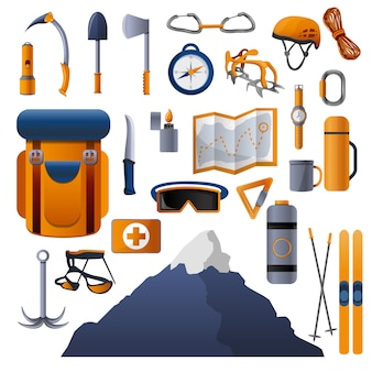 Climbing equipment icon set