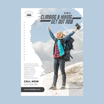 Climbing flyer template with photo