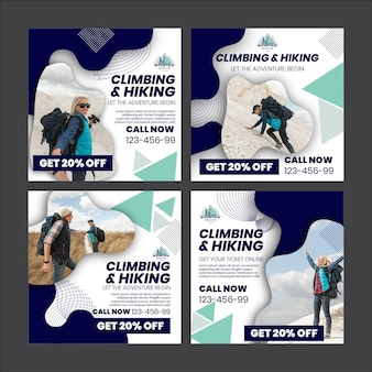 Climbing and hiking instagram posts template