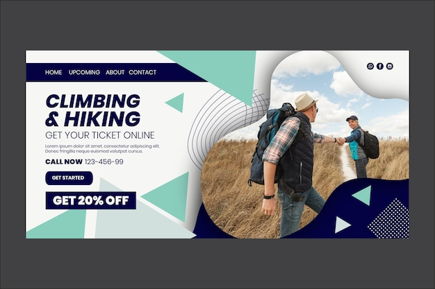 Climbing and hiking landing page web template