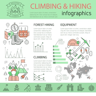 Climbing and hiking linear infographics