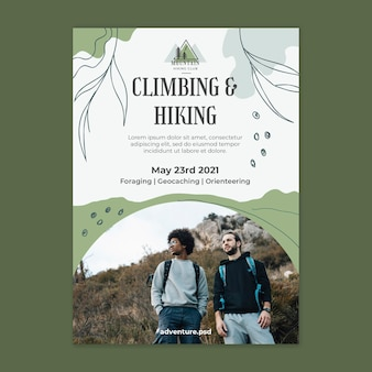 Climbing and hiking poster template