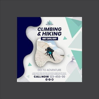 Climbing and hiking square flyer template Premium Vector