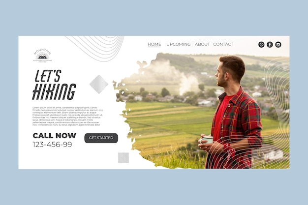 Climbing home page template with photo