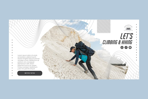 Climbing horizontal banner template with photo