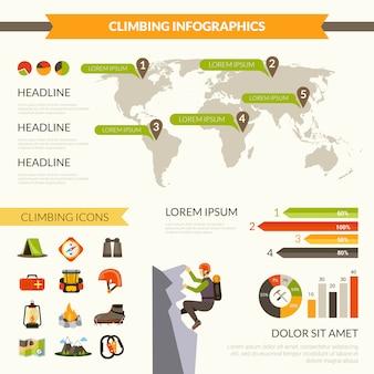 Climbing infographics set