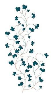 Вьющийся плющ с пышными зелеными листьями, изолированное комнатное растение, используемое в качестве украшения для интерьера. рост растений, тропических и экзотических орнаментов. садоводство и стрижка ботаника. вектор в плоском стиле