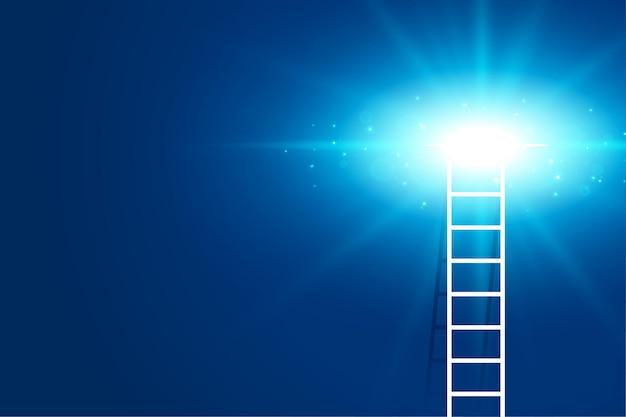 빛나는 빛을 배경으로 사다리를 등반