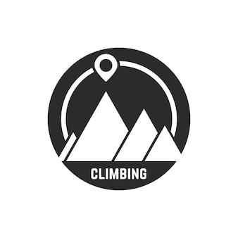 マップピン付きの登山ロゴ。懸垂下降、アルピニズム、視覚的アイデンティティ、休暇、使命、挑戦の概念。白い背景で隔離。フラットスタイルトレンドモダンなロゴタイプデザインベクトルイラスト