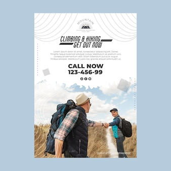 Climbing vertical poster template with photo