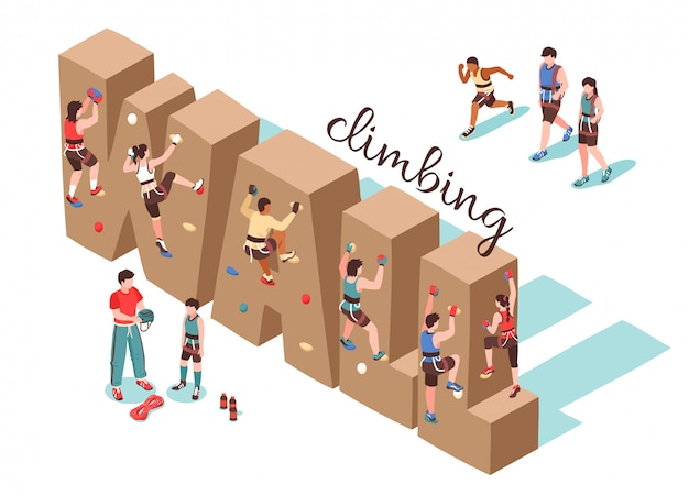 Climbing wall isometric background