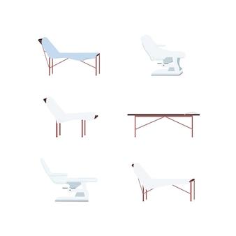 クリニックベッドフラットカラーオブジェクトセット。医療センターの家具。美容処置ベッド。 webグラフィックデザインとアニメーションコレクションの試験ソファ分離漫画イラスト