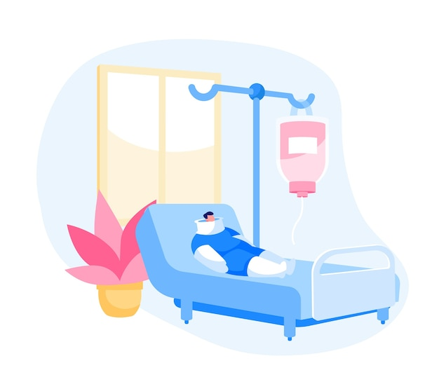Clinic chamber with bandaged patient character lying on bed with bounded body
