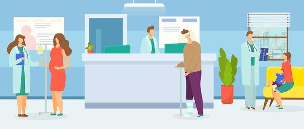 Clinic and hospital reception vector illustration sick people character wait for medical support pre...