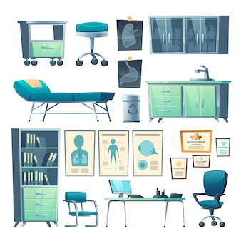 Clinic interior doctor stuff isolated hospital set