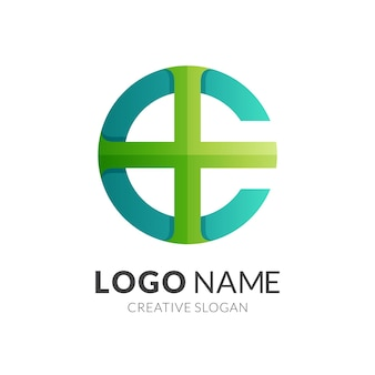 Clinic logo, letter c and plus, combination logo with  green color style