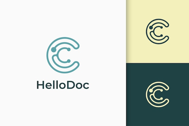 Clinic or medic logo in stethoscope and letter c shape