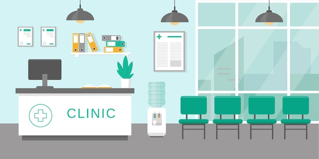 Clinic rectption room or hospital holl interior in  style. medicine concept.  illustration.