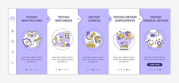 임상 조사 유형 온보딩 벡터 템플릿입니다. 아이콘이 있는 반응형 모바일 웹사이트입니다. 웹 페이지 연습 5단계 화면. 백신, 다이어트 선택은 선형 삽화로 색상 개념을 테스트합니다.