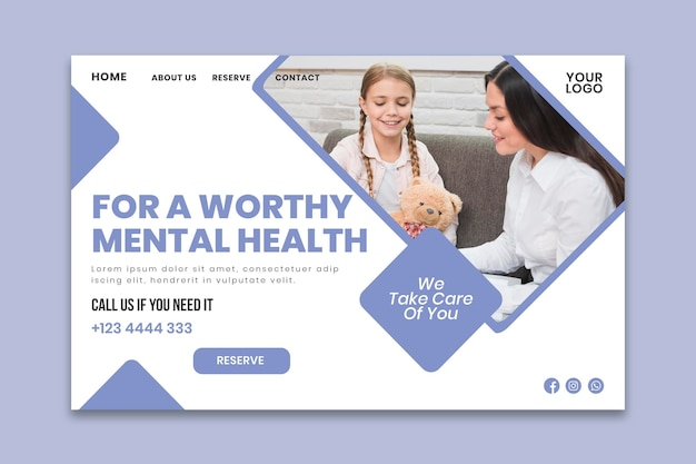 Clinical psychology landing page template