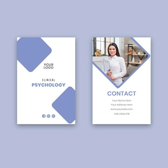 臨床心理学の縦型名刺テンプレート
