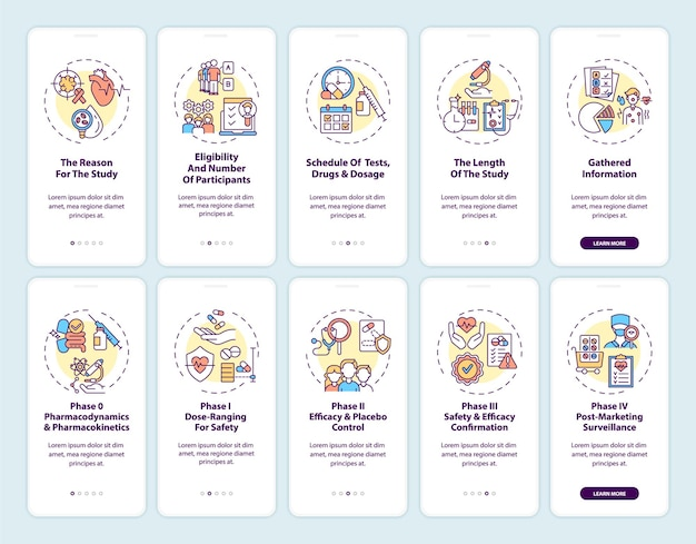 Clinical studies onboarding mobile app page screen with concepts set. formal experiment planning walkthrough 5 steps graphic instructions.