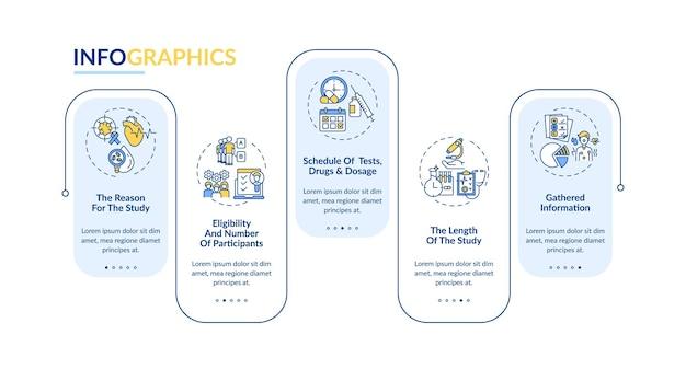 臨床試験プロトコルベクトルインフォグラフィックテンプレート。適格性、研究の長さのプレゼンテーションのデザイン要素。 5つのステップによるデータの視覚化。タイムラインチャートを処理します。線形アイコンのワークフローレイアウト