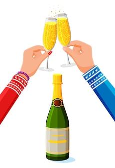 手にガラスをチリンと鳴らし、シャンパンのボトル。