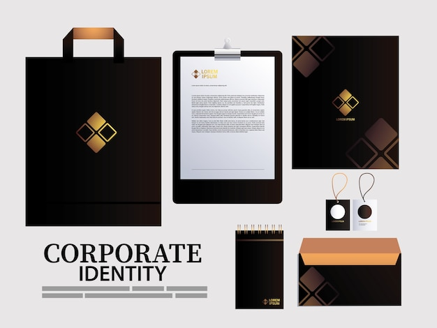 브랜드 아이덴티티 일러스트 디자인 요소에 대한 클립 보드 및 가방 종이