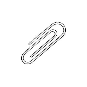 Зажим для бумаг рисованной наброски каракули значок. векторная иллюстрация эскиз металлического зажима для печати, интернета, мобильных устройств и инфографики, изолированных на белом фоне.