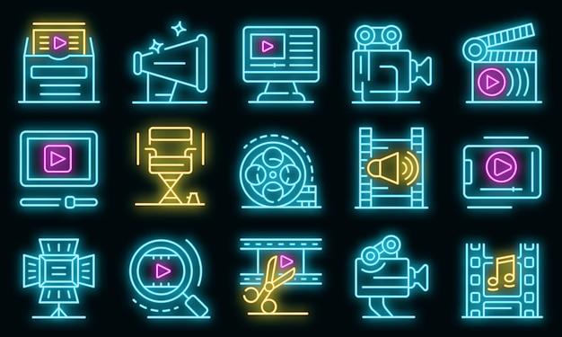 Набор иконок создателя клипа. наброски набор клип-мейкер векторных иконок неонового цвета на черном