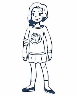 치마 라인 아트 색칠하기 책 벡터 일러스트 레이 션에 클립 아트 검은 윤곽선 아이 남학생 소녀