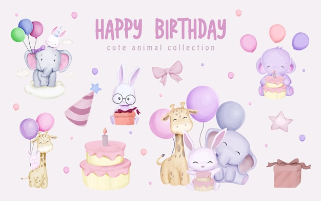 Clipart set happy birthday with cute animal watercolor illustration