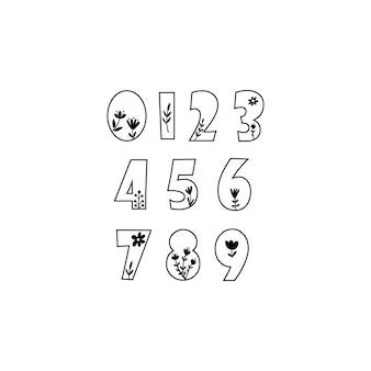 Клипарт с числами и цветочными элементами. векторная иллюстрация.